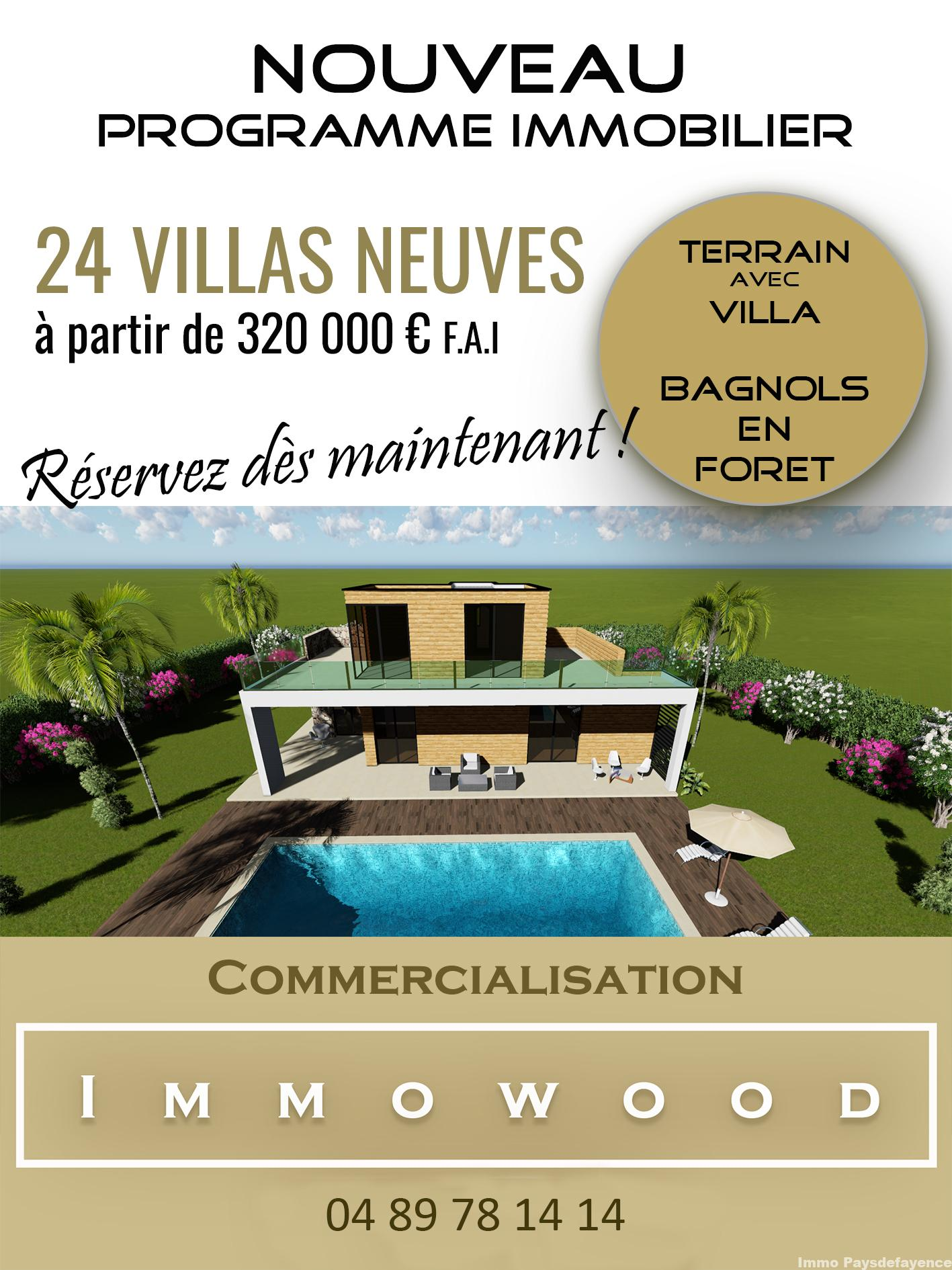 PROGRAMME NEUF BAGNOLS EN FORET- 24 VILLAS JARDIN PRIVE à 320000 €